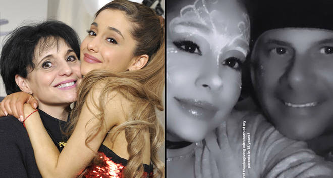 Joan Grande (L) and singer Ariana Grande pose in the Music Choice Lounge backstage, with her father.