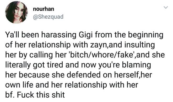 Gigi Hadid Twitter comment