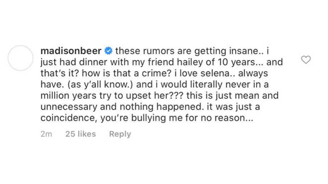 "Selena Gomez slams fans ""bullying"" Madison Beer over Hailey Bieber rumours (2)"