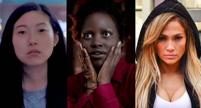 Awkwafina in 'The Farewell', Lupita in 'Us', Jennifer in 'Hustlers'.