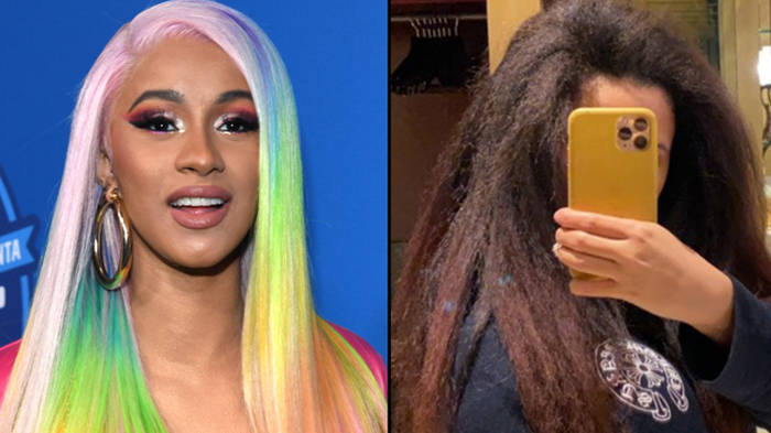 Cardi B shows off her natural hair after growing it out