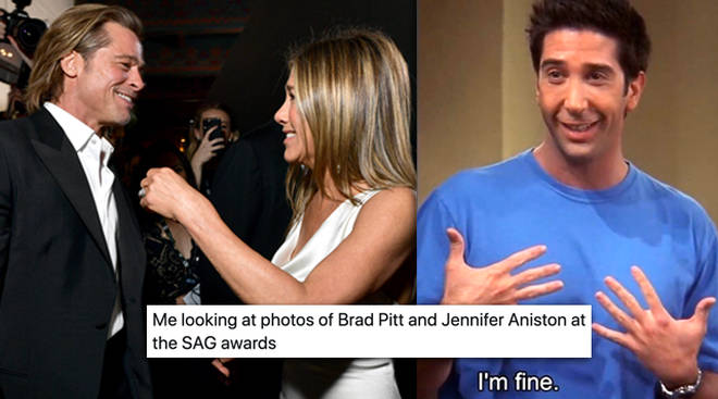 Brad Pitt and Jennifer Aniston's SAG Awards reunion has sparked a ton of memes