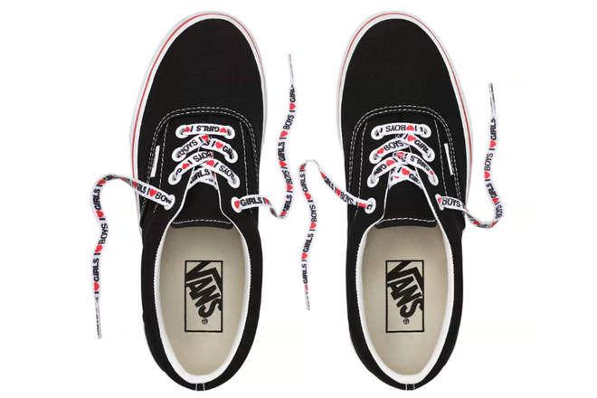 This design features the 'I Heart Girls/Boys' slogan on the shoelaces.