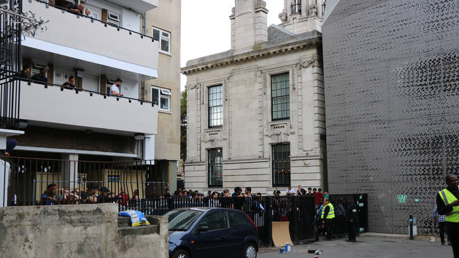 Fans entered a nearby block of flats