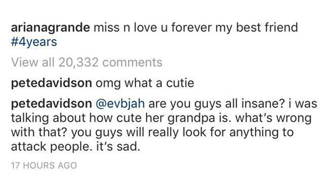 Pete Davidson Instagram comment