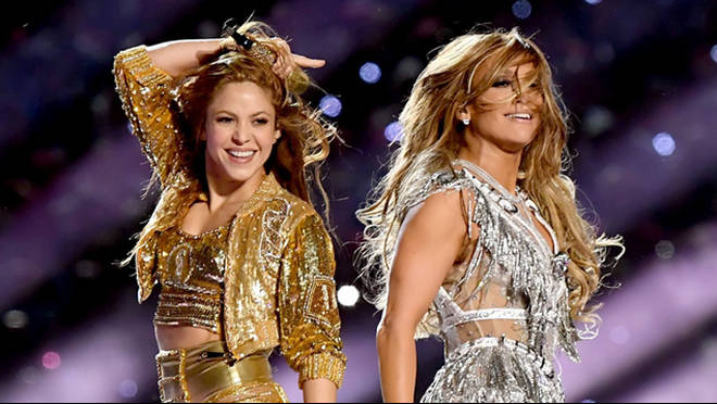 Shakira and Jennifer Lopez perform at the Super Bowl halftime show