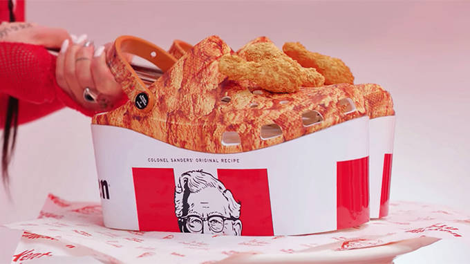 KFC have collaborated with Crocs and they come with detachable fried chicken