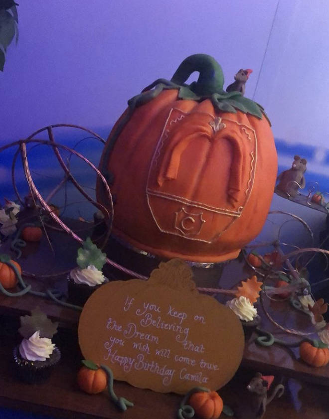 Camila's birthday cake was a huge replica of Cinderella's iconic pumpkin carriage.
