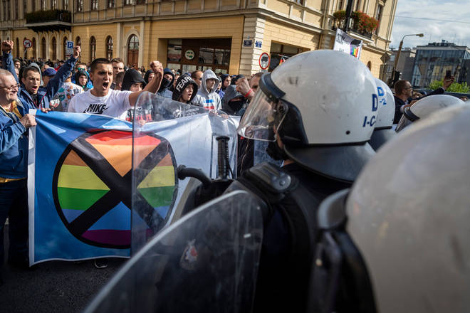Far right extremists clash with riot police as they try to disrupt the Gay Pride parade in Lublin