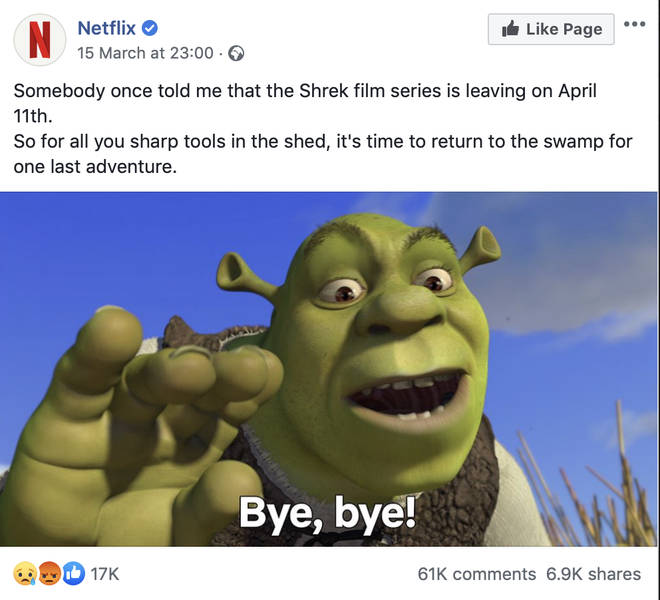 Netflix took to Facebook to make the announcement.
