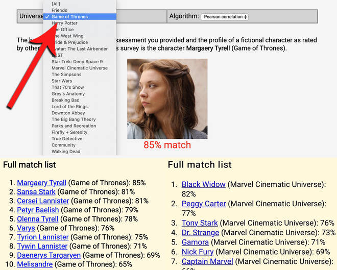 The openpsychometrics character test also filters your results by TV show