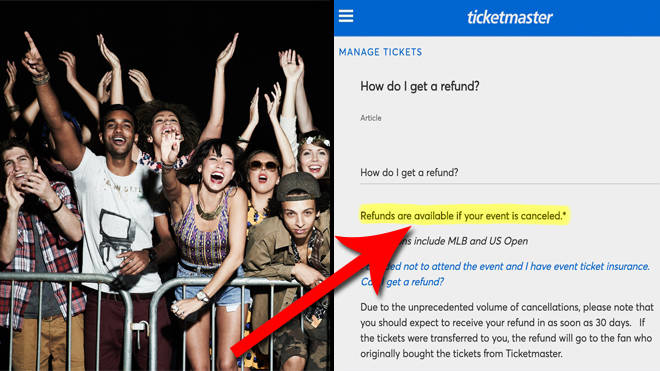 Ticketmaster will no longer refund postponed shows amid coronavirus crisis
