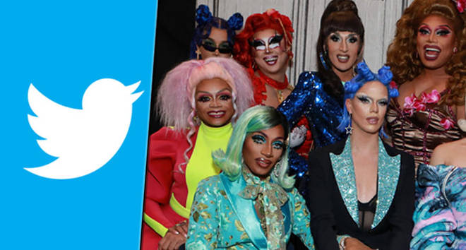 Twitter logo and Drag Race contestants