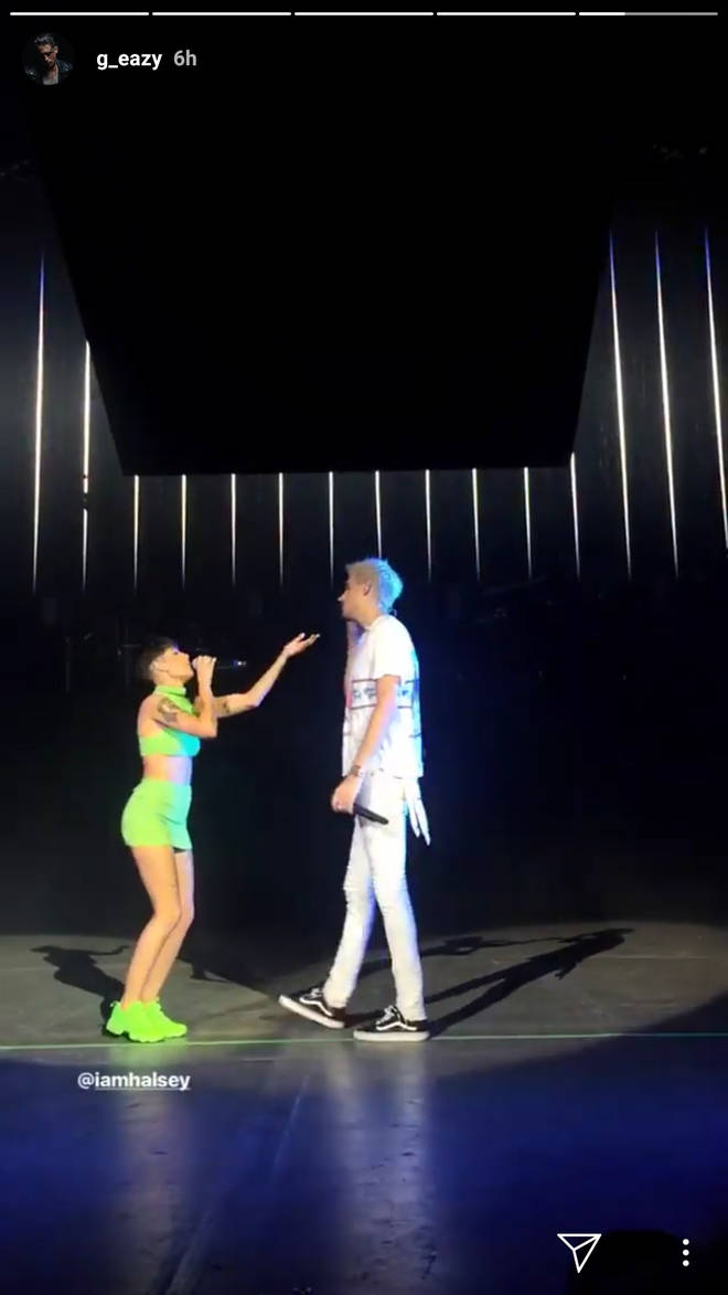 Halsey and G-Eazy on stage