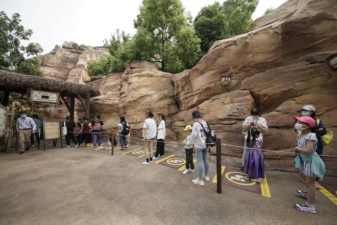 Social distancing measures are in place at Shanghai Disneyland