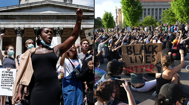 Peaceful protests are taking place all over the US and the UK