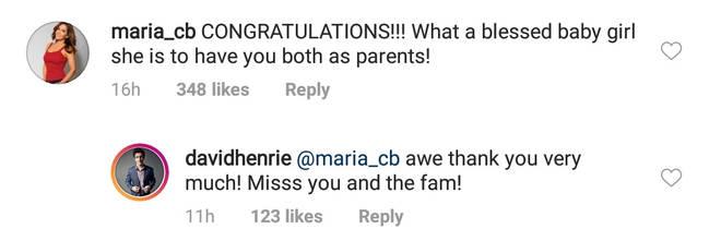 Maria CB instagram comment