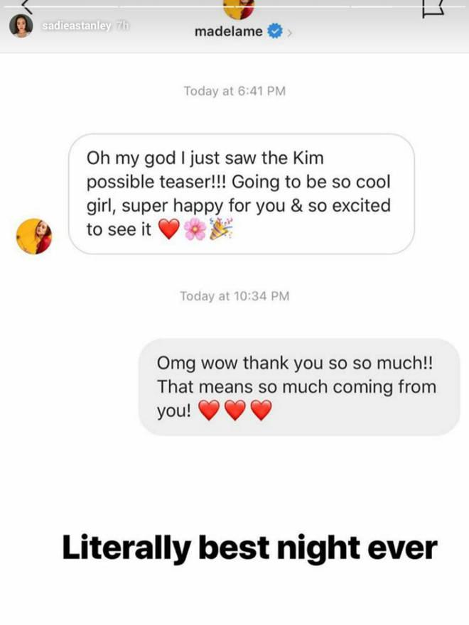 Sadie Stanley Instagram screenshot