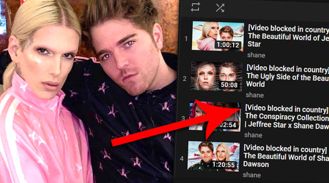Shane Dawson's Jeffree Star docuseries has been blocked on YouTube
