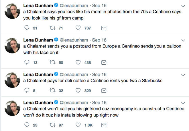 Lena Dunham S Shady Tweets About Noah Centineo And Timothee Chalamet Have Outraged Fans Popbuzz