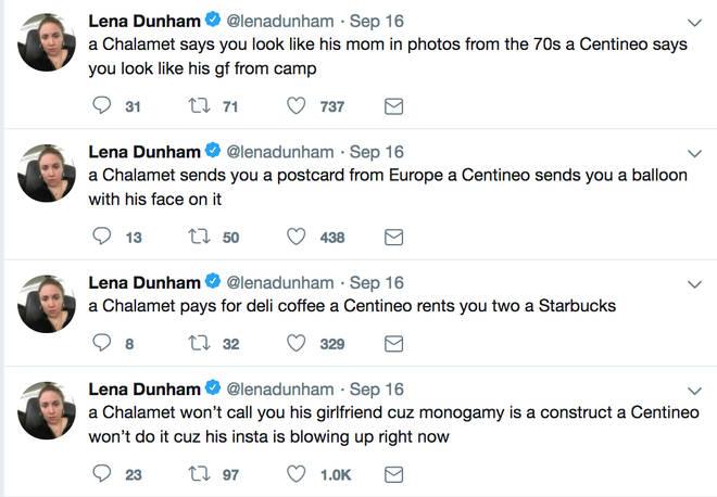 Lena Dunham Noah Centineo Tweets