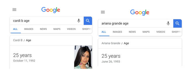 Cardi B Ariana Grande age Google search