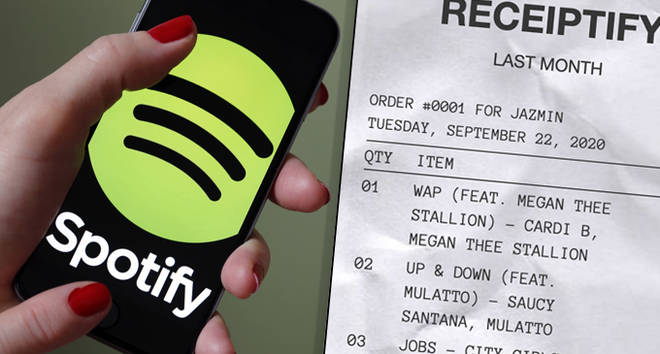 Spotify logo on phone, receipt