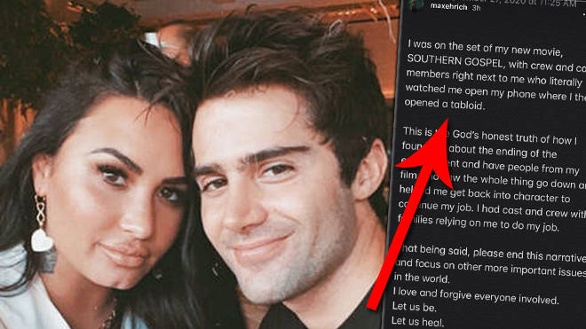 Demi Lovato's ex fiancé Max Ehrich says she's letting fans bully him following split