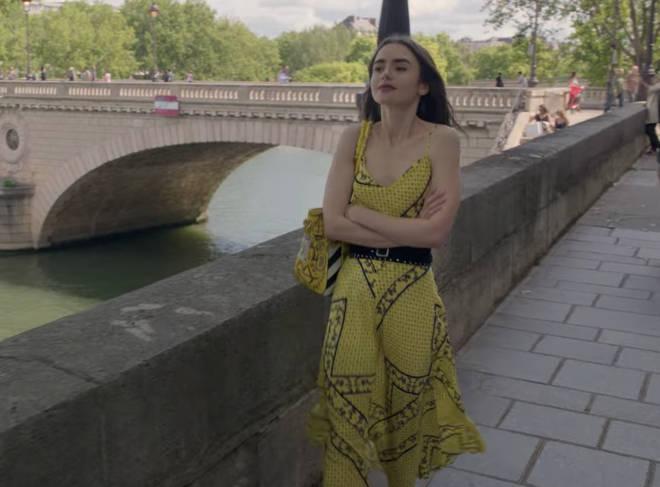Where to buy: Emily in Paris yellow bandana print dress