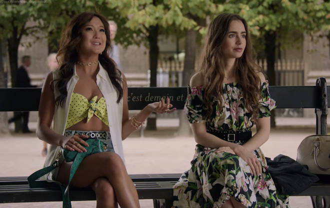 Where to buy: Emily in Paris floral off the shoulder dress