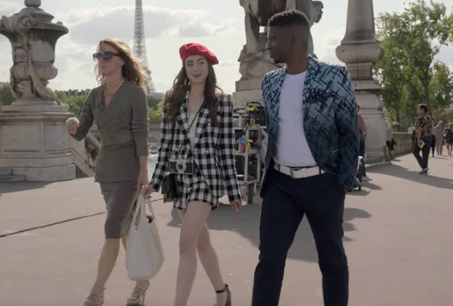 Where to buy: Emily in Paris black and white gingham suit