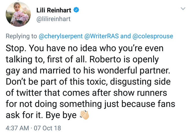 Lili Reinhart Twitter Response