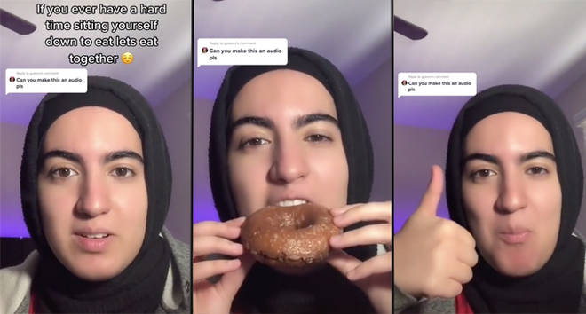 Teen on TikTok helps people with eating disorders by eating with them.