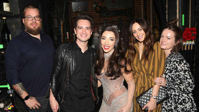 Panic! At The Disco's Brendon Urie and Zack Hall backstage at the Moulin Rouge on Broadway