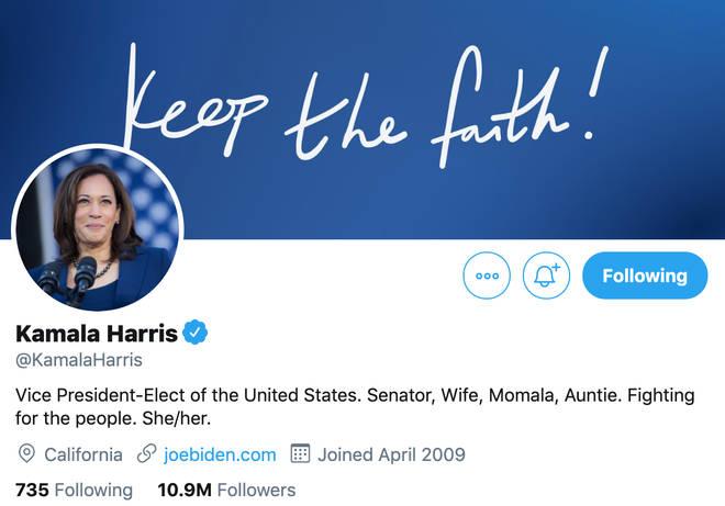 Kamala Harris Twitter Bio