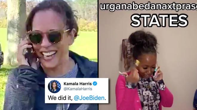 "Kamala Harris goes viral with ""We did it, Joe"" celebratory video"