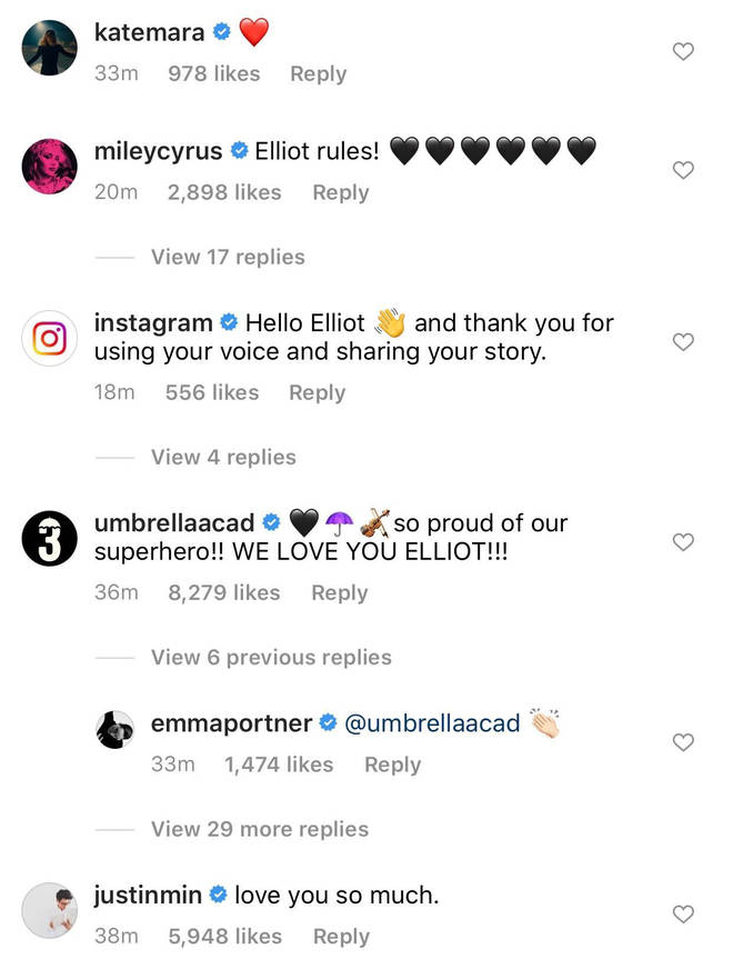 Elliot Page Instagram comments