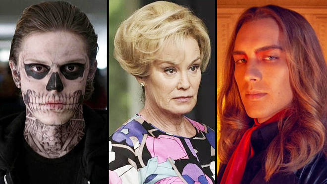 Evan Peters as Tate Langdon, Jessica Lange as Rose Langdon and Cody Fern as Michael Langdon in American Horror Story