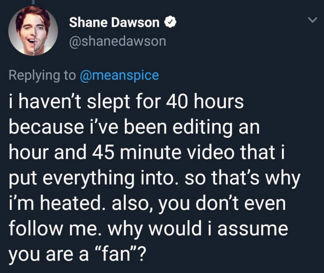 Shane losing sleep over the documentary