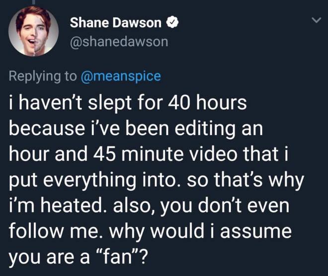 Shane losing sleep over the documentary