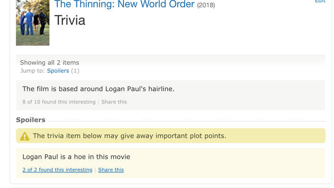The Thinning: New World Order IMDB page