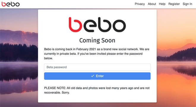 The new Bebo website