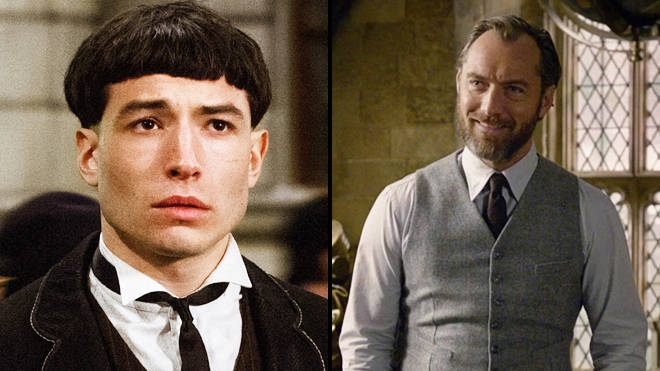 Ezra Miller as Credence Barebone and Jude Law as Albus Dumbledore in 'Fantastic Beasts: The Crimes of Grindelwald'