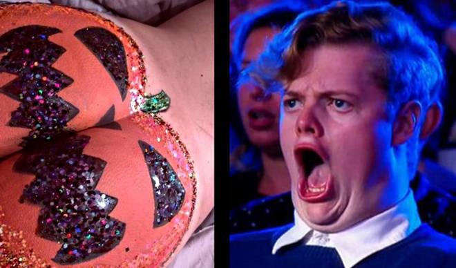 Glitter pumpkin butt/Shocked gif guy
