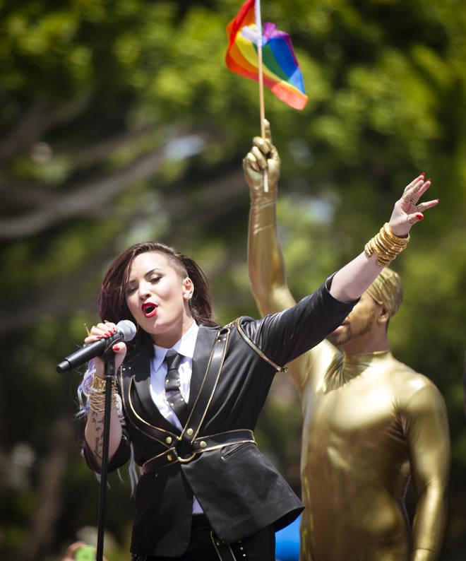 Demi Lovato performs during the 2014 LA Gay Pride