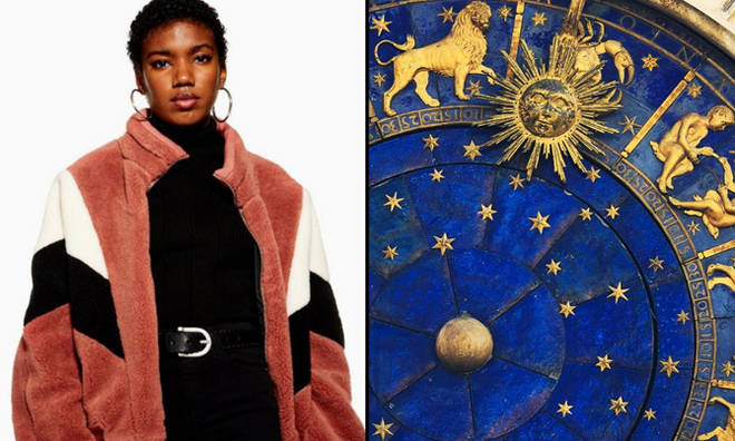 Topshop model in fluffy jacket/Zodiac signs