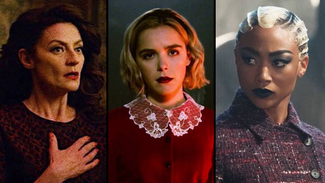 Madam Satan (Michelle Gomez), Sabrina Spellman (Keirnan Shipka) and Prudence (Tati Gabrielle) in 'Chilling Adventures of Sabrina'