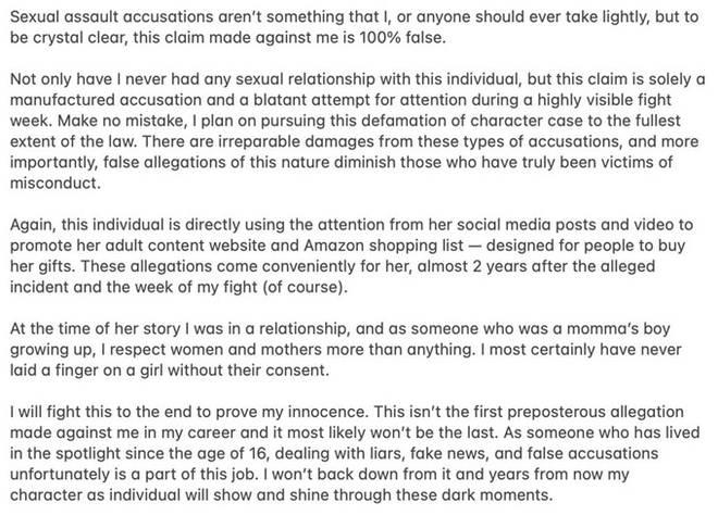 Jake Paul's Statement