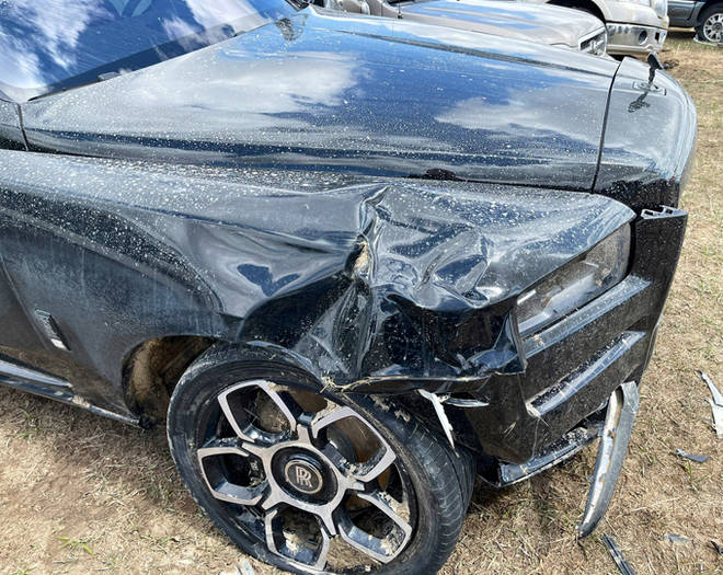 Jeffree Star's Rolls Royce was left with severe damage