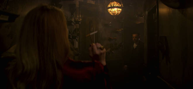 Zelda Spellman's wall of shoes in 'Chilling Adventures of Sabrina'